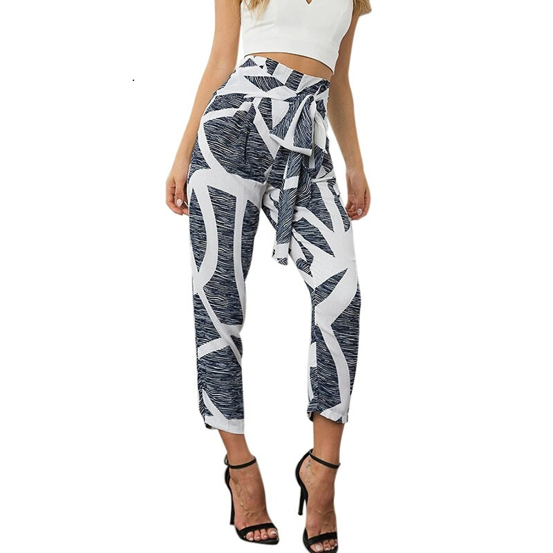 Gray Printed Harem Pants