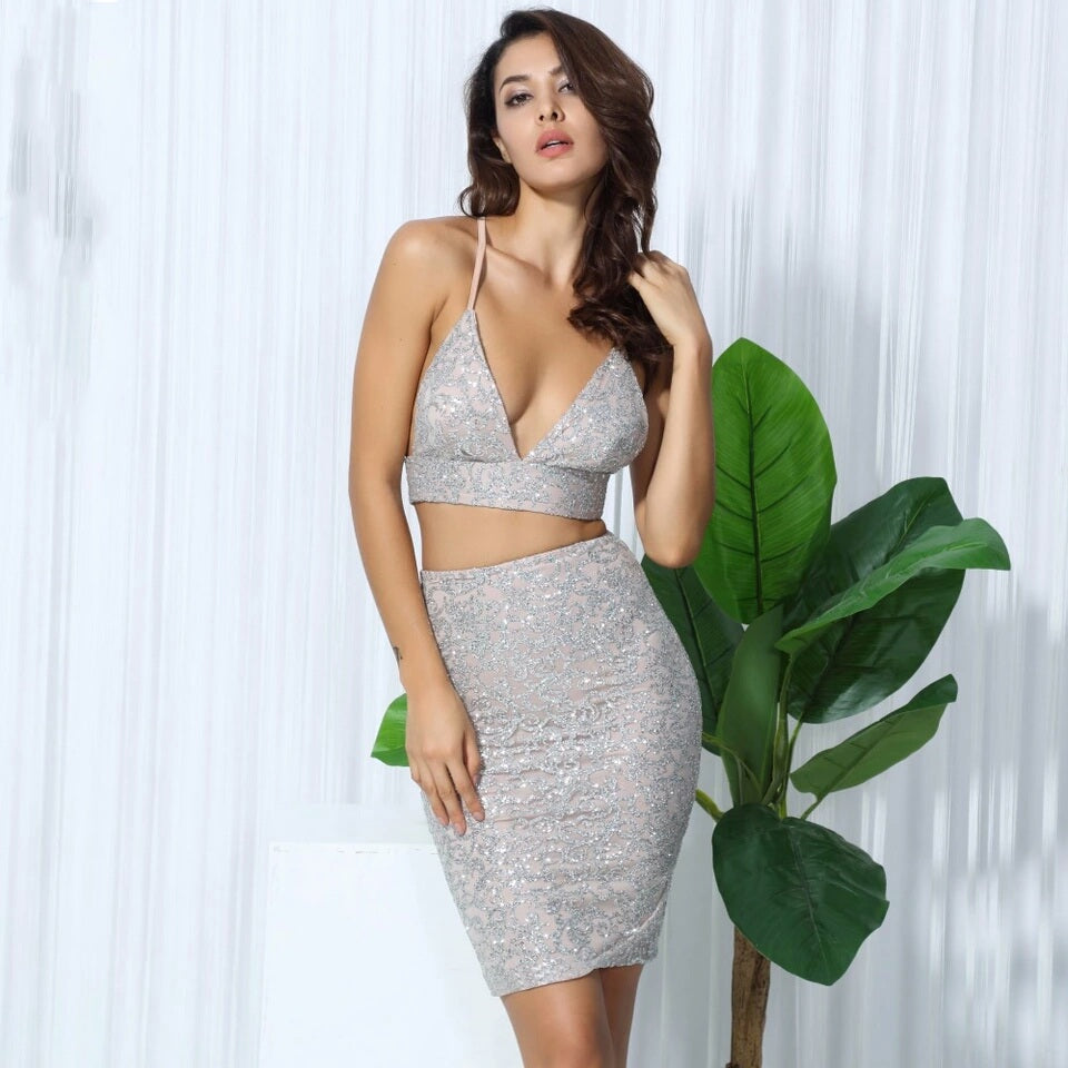 Macy Silver Beaded Two Piece Set