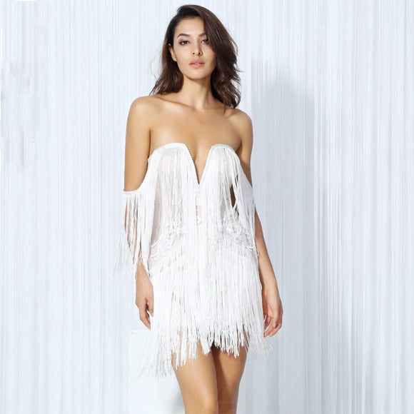 White Tassle Chloe Dress