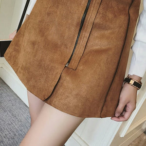 Suede Mini Skirt with Front Zipper