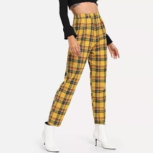 ZHYMIHRET Casual Plaid High Waist Yellow Straigh Pants Women Summer Pantalon Femme Loose Side Zipper Trousers Spodnie Damskie