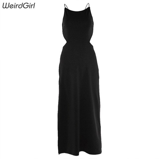 Weirdgirl Women Summer Sexy Dresses  Halter Sleeveless backless Bodycon Dress Bandage Fashion elegant Slim Club Party new 2019