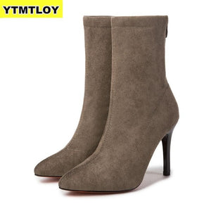 Women Sock Boots Pointed Toe Elastic High Slip On Heel Ankle Pumps Stiletto Botas  Zapatos De Mujer Sock Shoes High Boots