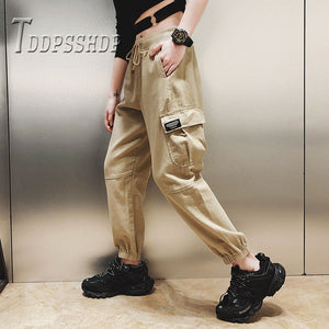 Cotton High Waist Cargo Pants 2019 Spring Pink Khaki Black Female Trousers