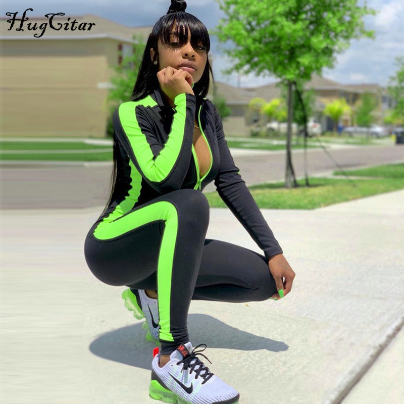 Hugcitar long sleeve striped patchwork zippers jumpsuit 2019 autumn winter stretchy streetwear outfits body