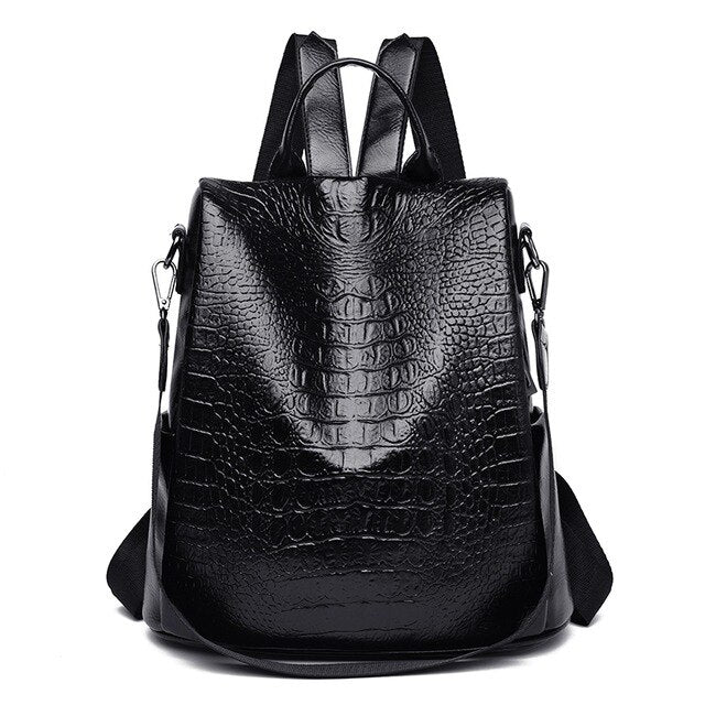 Leather Backpack Crocodile Pattern
