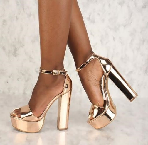 Rose Gold Women Square Heels