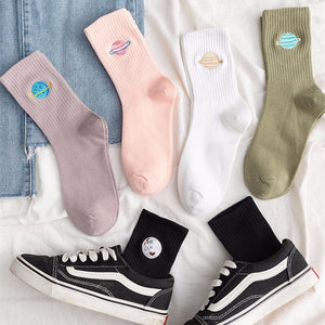Planet Embroidered Socks