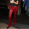 Red Leopard High Waist Pants