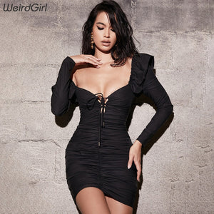 Weirdgirl Women Sheath Sexy dress pleated bow full Sleeve v-neck Solid color femme Mini Dress party office wear New autumn