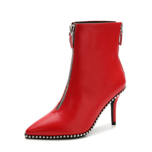 Women High Heels Leather Black/White/Red