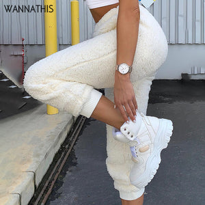 WannaThis Soft Women Plush Pant Lounge Flannel Thicker Casual  Autumn Winter New2019 Solid Streetwear Bodycon Harem Pants