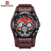 Men Leather Military Quartz Wristwatch