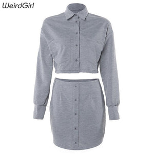 Weirdgirl women sets elegant fashion two pieces solid full sleeve coat single breasted crop top elastic high waist skirts new