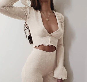 Melina Ruffle Flare Sleeve Crop Top