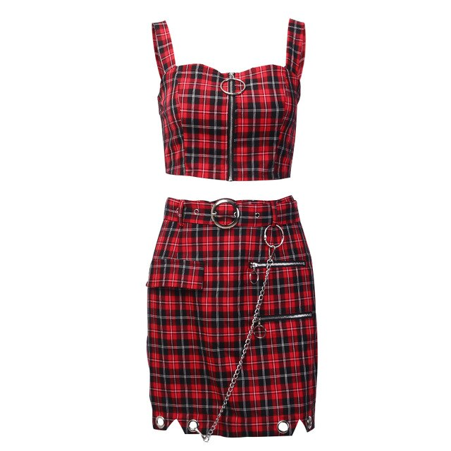 Red Plaid Skirt Set