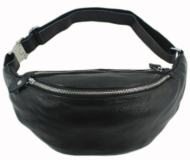 Genuine Black Leather Fanny Pack