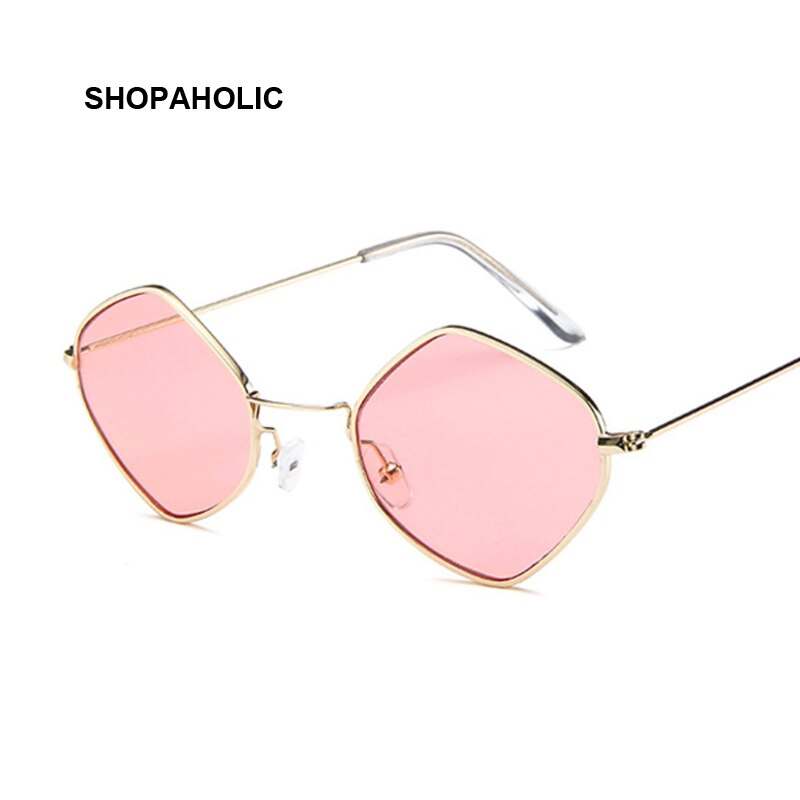 Fashion Round Sunglasses Women Brand Designer Small Frame Polygon Clear Lens Ladies Sunglasses Vintage Sun Glasses Metal Frame