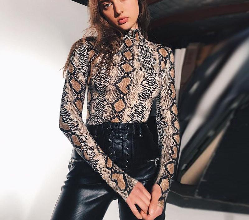 Snakeskin Turtleneck Bodysuit