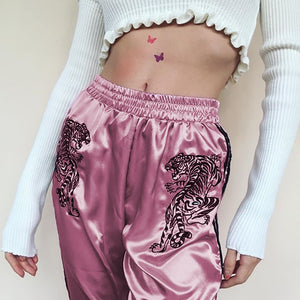 Embroided Crouching Tiger Satin Joggers