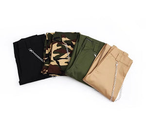 High Waist Cargos With Pant Chain