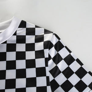 Split Checkered Bodysuit