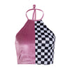 Split Checkered Halter Top