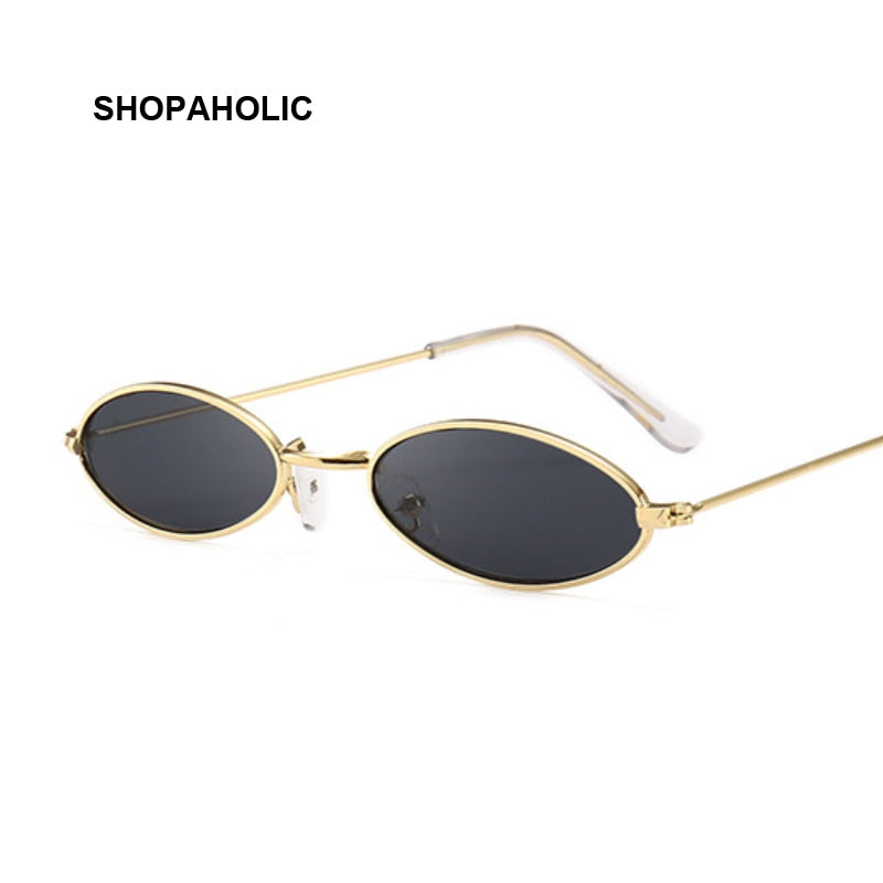 Retro Black Round Sunglasses for Women Men Small Oval Alloy Frame Summer Style Unisex Sun Glasses Female Male Goggle