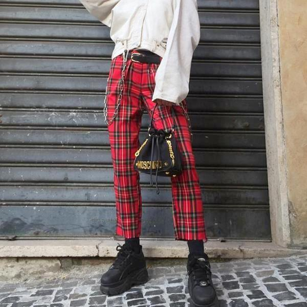 Plaid Hi Waist Ankle Pants