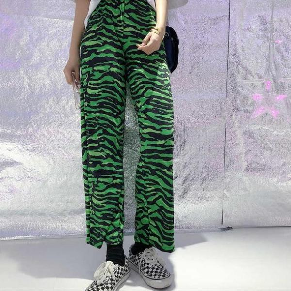 Green High Waist Zebra Pants