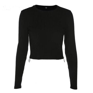 Black Knit Long Sleeve Zip Up Top