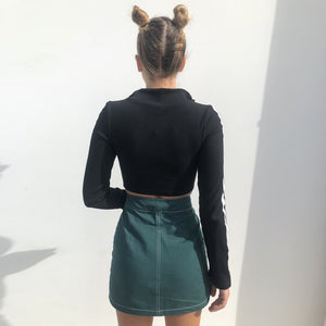 Zip It Long Sleeve Crop Top
