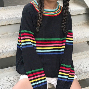 Alisha Rainbow Striped Sweater
