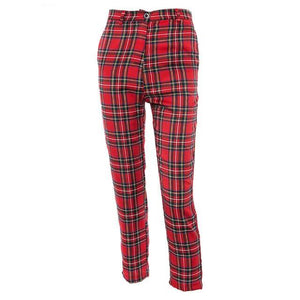 Plaid High Waist Ankle Trousers