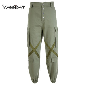 Sweetown Loose Autumn Winter Plus Size Cargo Pants Streetwear Women'S Button Cotton High Waist Harajuku Sweatpants And Joggers