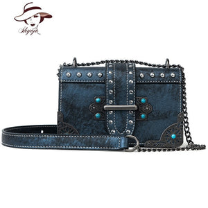 Vintage Rivet Women Crossbody Clutch Chain Handbag