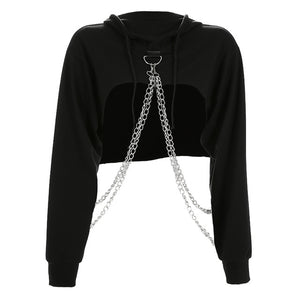 Cropped Chained Hoodie