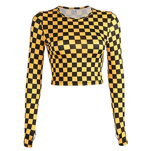 Yellow Checkerboard Print Crop Top