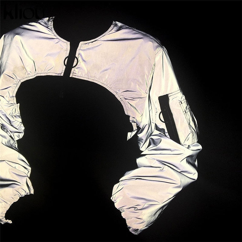 Reflective Cropped Turtleneck Jacket