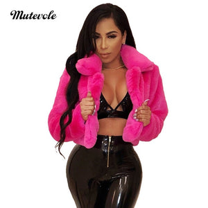 Mutevole Winter Warm Fluffy Faux Fur Coats Jackets Women Furry Fake Fur Cropped Jacket Turn Down Collar Open Front Overcoat