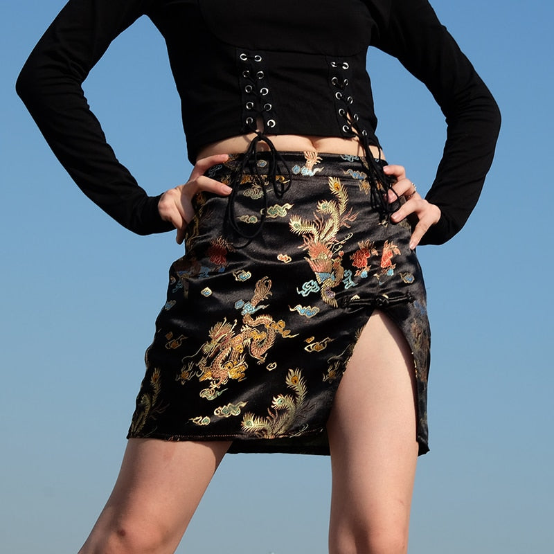 Dragon Print Embroidered Mini Skirt