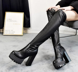 Leather Platform Over the Knee Boots