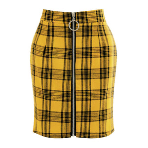 Plaid Zipper Skirt