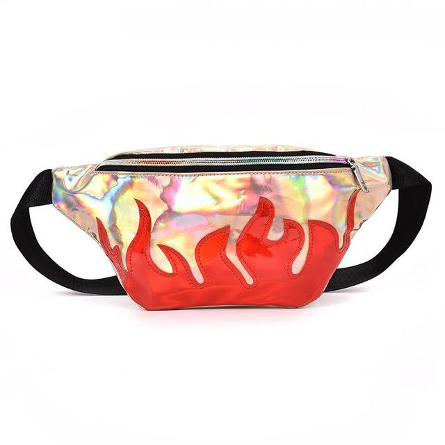 Reflective Flame Print Fanny Pack