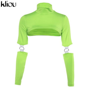 Neon Long Sleeve Crop Top