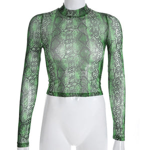 Green Snakeskin Print Mesh Top