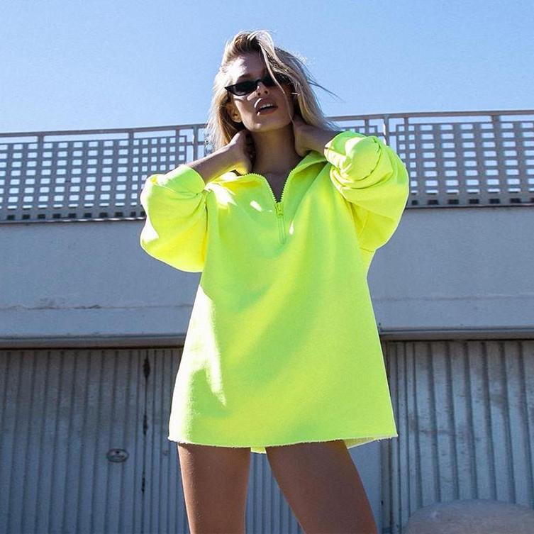 Fluoro Green Turtleneck Sweater