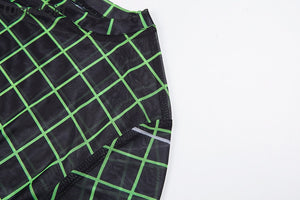 Black Grid Print Mesh Top