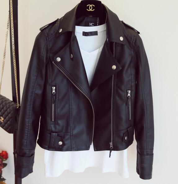 Female 2019 New Design Spring Autumn PU Leather Jacket Faux Soft Leather Coat Slim Black Rivet Zipper Motorcycle Pink Jackets