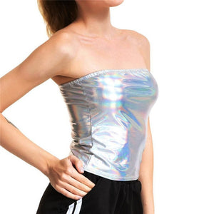 Shiny Silver Holographic Multi Designs Tank Tops Fashion Strapless Tube Top Turtleneck Crop Top New Strap Camis Sleeveless Vest